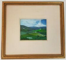 Small Framed Landscape Painting Acrylic on Canvas Board Farm Fields Animal Chiyo