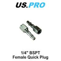 "US PRO 2 Pc 1/4"" BSPT Female Air Line Compressor Plug Fitting Quick Release 8778"