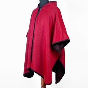 LIGHTWEIGHT BABY ALPACA WOOL HOODED OPEN PONCHO CAPE WRAP UNISEX HANDMADE RED