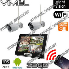 Wireless Security Cameras System 32GB 2 Cams WIFI IP CCTV Farm Rwmote Phone View