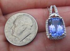 """10k 1.6ct Natural Tanzanite Diamond Halo Pendant Necklace 18"""" Chain white Gold"""