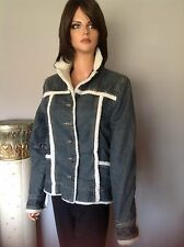 Billabong Jeans Jacket Denim M Faux Fur Designer Fashion Hip Chic