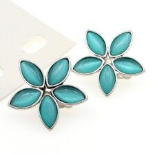 Bohm Clip en Pendiente de Plata Perlas de Vidrio Cabujón Aqua Azul pétalos de flores BNWT