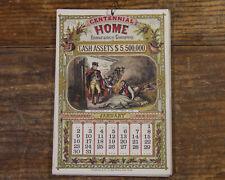 Antique Advertising Calendar 1876 CENTENNIAL HOME INSURANCE George Washington
