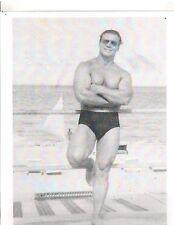 JOHN GRIMEK Relaxed Pose On Broadwalk Bodybuilding Muscle Photo b+w #59