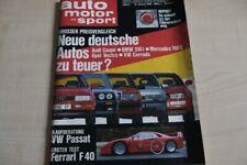 1) Auto Motor und Sport 02/1989 - Ferrari F 40 mit 478P - VW Passat GT 16V mit