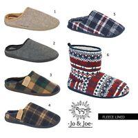 Mens Fleece Slipper Mule Winter Lightweight Slip On Cord Warm Lining Luxury Shoe