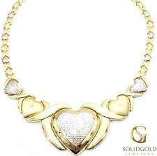 """NEW 10K YELLOW GOLD 19"""" LONG TWO TONE HUGS & KISSES OX XO HEART NECKLACE 6742"""