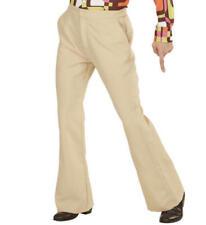 Mens Beige Trousers 70S Flares Fancy Dress Costume 1970S Disco Outfit L/Xl