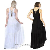Hippie Boho Bohemian Gypsy Victorian Frilled Tiers Tie Back Maxi Dress S M L XL