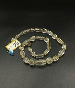 old antique ancient beautiful crystals quartz beads necklace from Burma original