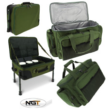 NGT CARP FISHING TACKLE BOX BIVVY TABLE RIG STATION + GREEN INSULATED BAG 709