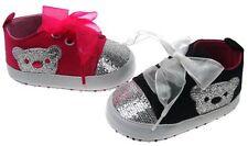 Soft Touch chaussures bébé  basket rose ou noire motif ours  fille 6 à 15 mois