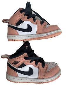 Nike Air Jordan 1 MID TD Pink Quartz/Dk Smoke Gray Sneakers 644507-603 Size 7c