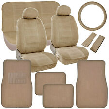 New Vintage Car Seat Covers in Beige w/ Lined Ribbed Texture Auto Floor Mats