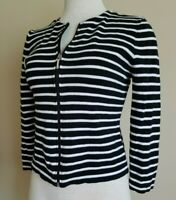 Chaps XS 100% cotton black & white striped 3/4 sleeve women's cardigan sweater.