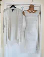 FRANK LYMAN Beige Studded Jersey Dress And Jacket Uk Size 10-12
