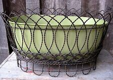 VINTAGE WIRE PLANT STAND W DISTRESSED METAL PLANTER POT HOME & GARDEN BASKET BOX