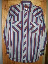 Rustler Western Shirt Gray X Long Tail Striped Cowboy Rodeo Ranch Retro 15 32/33