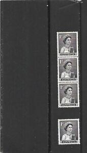 Australia 1959 QE II 1d Purple Strip of 3 + 1 MNH