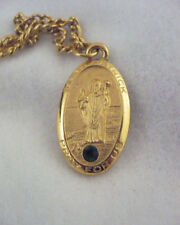 Gold pewter St Patrick Pray for Us gold pewter necklace green rhinestone accent