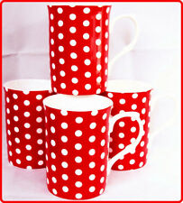 Red Dots Mugs Set of 4 Fine Bone China Red Mugs Hand Decorated in UK