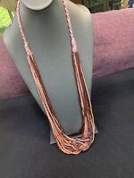 "Vintage Boheniman Peach Plum Seed Multi Strand Long Necklace Boho 36"" Long"