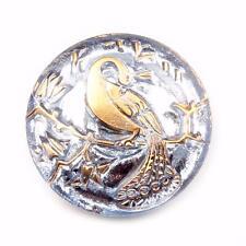 (1) 23mm Czech vintage hand gold gilt mirrored blue peacock art glass button