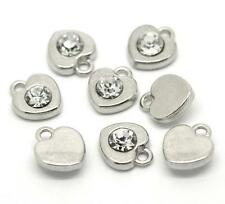 8 x 12mm Silver Tone Tibetan Silver Rhinestone Hearts Pendants Charms Craft S198