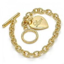 New 9ct Gold Filled Heart and Love Toggle Tbar Bracelet Belcher Link B252