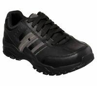 Leather  Black Skechers Shoes Men Memory Foam Sporty Casual Comfort Oxford 66015