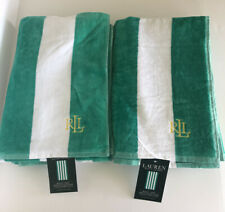 """Bundle 2 Ralph Lauren Beach Pool cotton Towels 35""""x 66"""" Stripes"""
