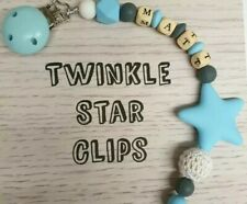 💙 Personalised Dummy Clip💙 Silicone Star 💙 Baby Boy 💙 Wooden Letters 💙 Blue
