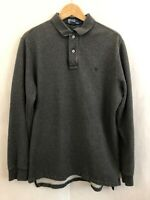 Vintage Polo Ralph Lauren Pullover Collared Sweatshirt Men's Sz L Charcoal Gray