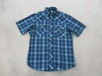 Wrangler Pearl Snap Shirt Adult Medium Blue Yellow Western Rodeo Casual Mens A55