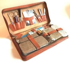 Vtg Mens Grooming Travel Kit Saddle Leather Germany USA Hoffritz Nifty Zipper