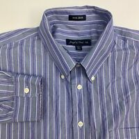 Joseph & Feiss Button Up Shirt Mens XXL Blue Stripe Non Iron Long Sleeve Casual