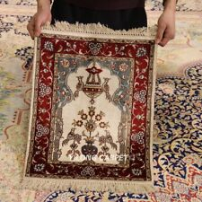 Yilong 1.5'x2' Small Size Tapestry Area Rugs Handknotted Silk Carpets 401M