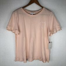 NWT LAUREN CONRAD LC Women's Ruffle Trim Tee Peach Pink T-Shirt Size Medium