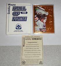 """Upper Deck 1999 Wayne Gretzky """"Hall of Fame"""" 22 Kt. Gold Photo Card w COA"""