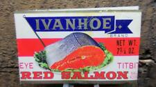 1960's Circa Ivanhoe Sockeye Red Salmon Titbits 7 3/4ozs Made in Japan Can Label