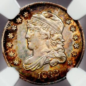 1832 LM-12 capped bust half dime NGC AU58 - beautiful toning on both sides