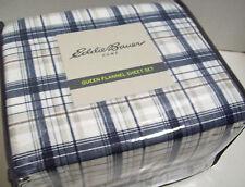 Eddie Bauer Home Blue Plaid Cotton Flannel Queen Sheet Set ~ New ~ Free Shipping