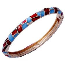 Fashion 66mm Womens Wrist Gold filled Red And Blue Enamel Cuff Bangle Bracelet