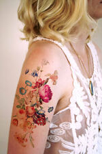 """SHIP FROM NY - Temporary Tattoo -  7"""" x 3"""" Large Vintage Floral"""