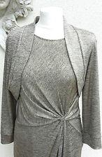 Jersey DE ORO Gina Bacconi Vestido Drapeado Y CHAQUETA. Talla 14. PVP £ 259