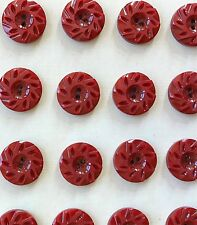 """Vintage Buttons - 24 Brick Red Carved Casein 5/8"""" 2-hole Buttons - France"""