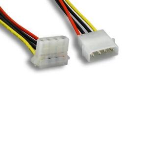 "8 inch 8"" Molex 5.25 Male to Molex 5.25 Female 90 degree Power Extension Cable"