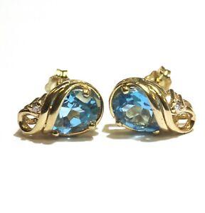 """14k yellow gold .02ct VS1 G diamond blue topaz stud earrings 2.9g  1/4"""""""