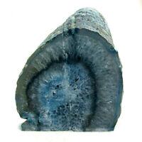 Blue Agate Bookend Set Large Polished Geode with Quartz Crystal 1421kg 13cm